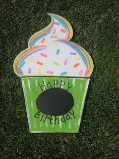 Cupcake Door Hanger - Happy Birthday Door Hanger - Celebration Door Hanger - Birthday Decor - Birthday Party Decor - Home Decor