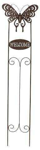 "Sunjoy 52"" Welcome Butterfly Garden Stake Made Of Antique Finished Metal - Bronze Cloud"