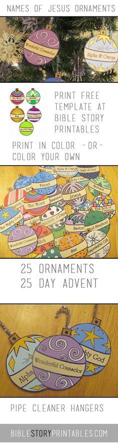 Free Christmas Advent for Kids. Names of Jesus Printables. Could let my Sparkies each choose a couple to color, then decorate the room with them.