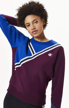Champion deliver their classic Reverse Weave Colorblock Sweatshirt to add to your sporty style. This pullover boasts long sleeves, crew neckline, logo embroidery at the left chest, a colorblocked design with striped detailing, and ribbed trimmings. Cheap Mens Fashion, Best Mens Fashion, Lifestyle Clothing, Sporty Style, Pacsun, Color Blocking, Champion, Polo Ralph Lauren, Sweatshirts