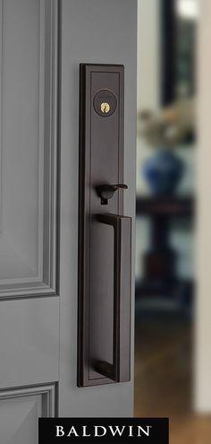 Home Renovation Front Door Tall backplate door hardware for front entry in venetian bronze - Front Door Locks, Front Door Entrance, Front Entry, Entry Doors, Entrance Ideas, Front Doors, Door Ideas, Entry Door Locks, Garage Doors