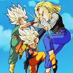 This is one of my favorite moments; whenever Trunks and Goten fight 18, but 18 still wins...