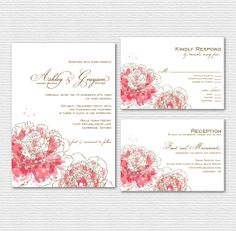 Printable Wedding Invitation Set - Pink Watercolor Peonies Wedding Invitation adn RSVP Card - Spring Wedding Invitation