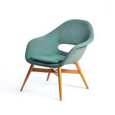 František Jirák; Wood and Upholstered Molded Plastic Chair, 1960s.