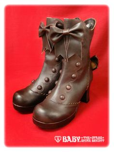 Rococo short boots by Baby, The Stars Shine Bright - Japanese Lolita fashion or girly Steam Punk? I really love the brown most of all for it's potential versatility, though these boots also come in cream, pink and black.