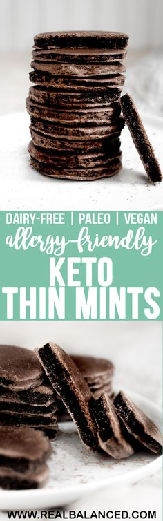 These Keto Thin Mints are a perfect way to curb your craving for a chocolate baked good! These cookies are keto, low-carb, paleo, dairy-free, egg-free, gluten-free, grain-free, vegetarian, vegan, refined-sugar-free, and only 1.5g net carbs per serving! #keto #paleo #ketopaleo #ketodairyfree #vegetarianketo #veganketo #eggfree #eggfreeketo #vegan #lowcarbvegan #lowcarbvegetarian #dairyfree #ketodessert #paleodessert #vegandessert #lowcarbdessert #eggfreedessert