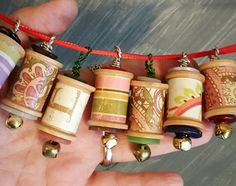 Spool Ornaments Christmas Tree Decoration 6 Pcs. Shabby Cottage Chic Pastel Wood Ornie with Bells and Vintage Buttons