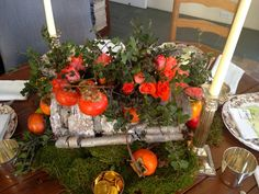 Here is an impressive but easy centerpiece for the holidays or any day. For mantel or table,  the size and height are easily varied. Use any combination of foliage, fruit, and flowers. Make a mess and it will still be beautiful. It's an anything-goes thing. Continue reading →