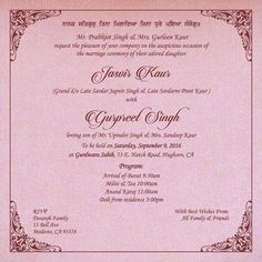 Wedding Invitation Wording For Sikh Ceremony Indian Cards