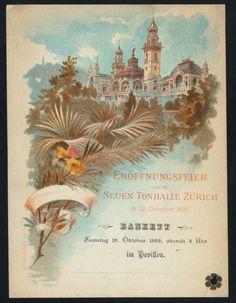 Zurich, Switzerland, Eröffnungsfeier der Neuen Townhalle Zurich October 19, 1895  http://menus.nypl.org/menus/22514