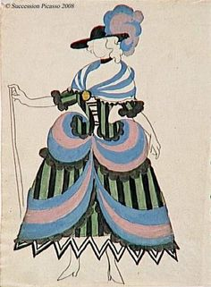 Picasso,Costume of the Chief Magistrate's Wife, 1919  Watercolor and Gouache over Graphite Pencil Marks on Paper  Ballet:  The Three-Cornered Hat