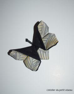 Pince papillon japonais noir argenté doré - L'atelier du petit oiseau