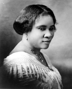 Madam C.J. Walker became the first self-made female millionaire in American. She created and marketed hair care products made just for African American women.