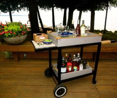 Bar Cart from Recycled Weber Grill