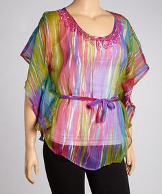 Take a look at this Fuchsia & Lime Streaked Tunic - Plus by Life and Style Fashions on #zulily today!