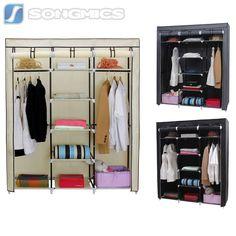 Triple Canvas Wardrobe Clothes Garment Storage Shelf Cupboard with Hanging Rail Hanging Clothes Rail, Hanging Rail, Canvas Wardrobe, Clothes Shelves, Storage Shelves, Shelf, Garment Racks, Bedroom Storage, Cupboard