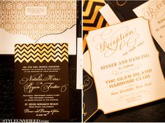 Invitations EAST SIX / Christopher Todd Studios / A Good Affair Wedding and Events / Gold and Black Chevron Wedding Ideas / Style Unveiled | eastsix.com