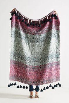 NWT maroon-red orange black geometric tribal aztec pattern fringe woven scarf