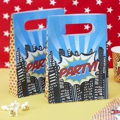 pop art superhero paper party bags by ginger ray | notonthehighstreet.com