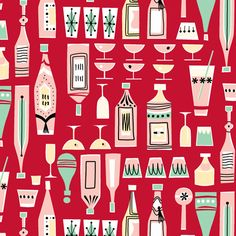 Cocktail Party Red fabric by tuppencehapenny on Spoonflower - custom fabric