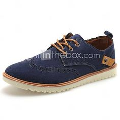 1b589ce9a5c4f   22.99  Men s Leather Spring   Summer   Fall Comfort Flat Heel Lace-up  Brown   Blue   Khaki