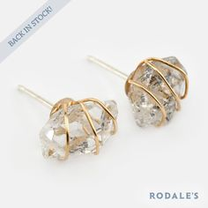 BACK IN STOCK! Bestselling, #PeopleStyleWatch-favorite Ariana Ost Wire-Wrapped Herkimer Diamond Studs are back on www.rodales.com