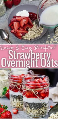 Best Overnight Oats Recipe, Strawberry Overnight Oats, Strawberry Freezer Jam, Banana Overnight Oats, Strawberry Recipes, Healthy Breakfasts, Healthy Sweets, Healthy Food, Healthy Eating