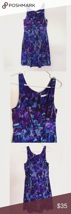 Necessary Objects Purple/Blue Abstract Print Dress Like New. Worn once. Scoop neck. Fully lined. Sleeveless. Back zip hidden. Pleated at the waist for a flattering accent. Necessary Objects Dresses Midi