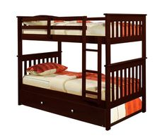 Twin Over Twin Bunk Bed (Cappuccino)