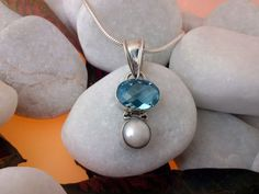 Blue Topaz and Pearl Sterling silver pendant.