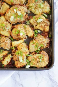 Garlic Parmesan Crushed Potatoes - Crunchy, crispy, crushed new potatoes, smothered in garlic and Parmesan cheese. The ultimate accompaniment side dish. Potato Dishes, Savoury Dishes, Potato Recipes, Food Dishes, Grilling Recipes, Cooking Recipes, Crushed Potatoes, Whole Food Recipes, Healthy Recipes