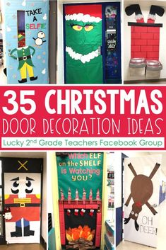 Christmas Door Decorations - Lucky Little Learners - - Elf Selfies to Gingerbread Houses to Grinch Acts of Kindness to Elf on the Shelf (& more).this post will make your Christmas door decorations easy peasy! Diy Christmas Door Decorations, Teacher Door Decorations, Christmas Door Decorating Contest, Classroom Decor, The Grinch Door Decorations For School, Room Decorations, Christmas Front Doors, Christmas Door Wreaths, Christmas Tree