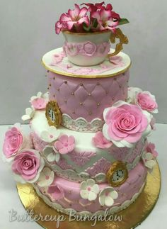 3 tier quilted Vintage cake, topped with tea cup & saucer.