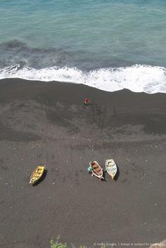 Black sand beach, Sao Felipe, Fogo, Cape Verde, West Africa