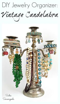 If a vintage silverplate candelabra isn't quite your style (house-wise), how about upcycling it into a elegant jewelry tree? Between the flowing arms for necklaces, the wax collars for earrings, and the candleholders for bracelets, it's like a candelabra was MEANT for organizing jewelry. Get all the DIY details from Sadie Seasongoods at www.sadieseasongoods.com