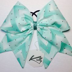 Light Aqua Ombre Chevron Cheer Bow with Crystal Rhinestones Copy