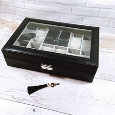 Men's Personalised Black Faux Leather Watch & Jewellery Box - Red / No Personalisation