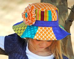 Patchwork Hat Pattern PDF Sewing Pattern Sun Hat for Boy & Girl Removable Flower - by AngelLeaDesigns on madeit