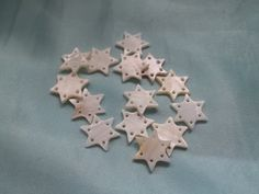 Set of 14 6 Pointed Star Beads White Mother of Pearl Shell 17mm x 2mm 6 Hole Connectors #484