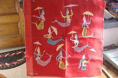 TAMMIS KEEFE Signed Handkerchief/Mermaids Holding Umbrellas/Red Background