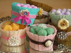 Spring Treat Baskets.  (From the lady at Velvet Strawberries) who does such pretty projects.  Maybe a future Mother's Day idea.
