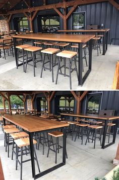 Booneshine Brewery Pub Tables by Carolina Farm Table seen at Boone, Boone Beer Table, Wood Bar Table, Pub Table Sets, Pub Tables, Brewery Interior, Pub Interior, Brewery Decor, Brewery Design, Pub Design