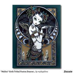 Cartão tribal do anjo do dançarino da fusão do gót cartão postal