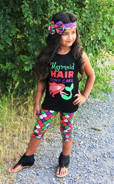 """Mermaid Hair Don't Care"" Capri Set #boutique-outfits #new #newborn-clothing #perfect-sets #spring-line"