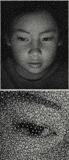 ART/MIXED MEDIA - Portrait by Kumi Yamashita Single thread, thousand nails. A million pieces make up the big picture of who a person is Kumi Yamashita, Arte Linear, Street Art, Creation Art, Art Brut, Thread Art, Wow Art, Art Plastique, Belle Photo