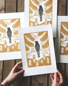 "Original Linocut print ""Starling bird"" Scandinavian folk art inspired, wall poster, Limited edition, handmade by Alexandra Dvornikova - - Linocut Prints, Art Prints, Block Prints, Scandinavian Folk Art, Linoprint, Lowbrow Art, Tampons, Poster Wall, Zine"