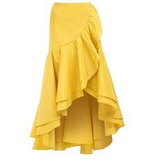 Vanina The Ruffles Skirt (1.133.610 COP) ❤ liked on Polyvore featuring skirts, yellow, asymmetrical hem skirt, yellow high waisted skirt, high-waisted skirt, high waisted skirt and frill skirt