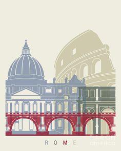 Rome Painting - Rome Skyline Poster by Pablo Romero