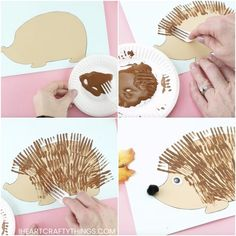 Three fun and easy ways to use our free hedgehog template to create cute hedgehog crafts for kids. Leaf hedgehog, fork painting and ruler lines fall crafts. Fall Arts And Crafts, Winter Crafts For Kids, Autumn Crafts, Diy Crafts For Kids, Easy Crafts, Art For Kids, Kids Fun, Scarecrow Crafts, Fox Crafts