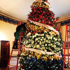 See All theFestive Celebrity Christmas Trees of 2015 - Barack and Michelle Obama  - from InStyle.com